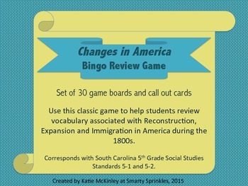 Social Studies Bingo: Changes In America