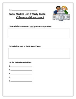 Social Studies Citizens and Government Unit Study Guide (C