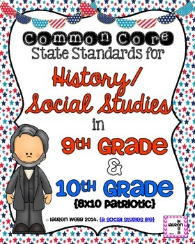9th and 10th grade Social Studies Common Core Standards Posters