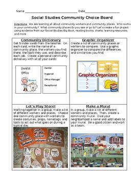 Social Studies Community Choice Board Updated Version