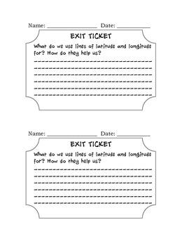 Social Studies: Exit Ticket Longitude and Latitude