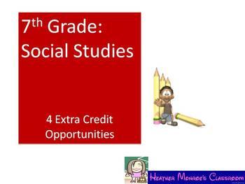 Social Studies Extra Credit--7th Grade