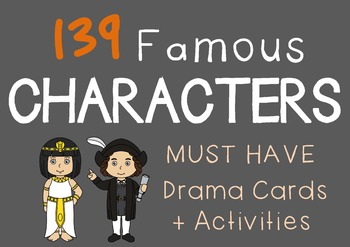Social Studies : FAMOUS CHARACTERS Drama / English Cards +