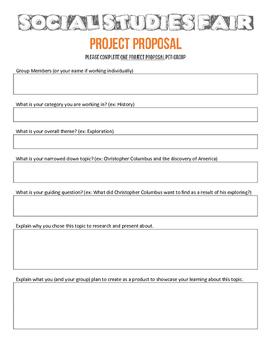 Social Studies Fair Project Proposal