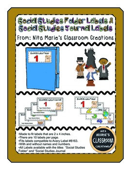 Social Studies Folder Labels (editable)