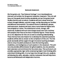"""Social Studies Georgia- 1st Grade Curriculum Unit """"Our Nat"""