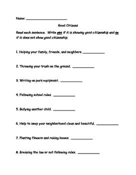Social Studies Good Citizen Worksheet