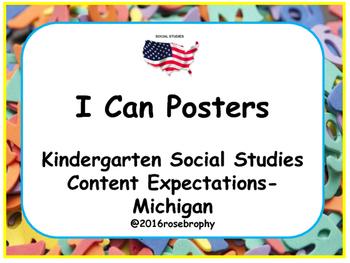Kindergarten Social Studies I Can Posters- Michigan Program