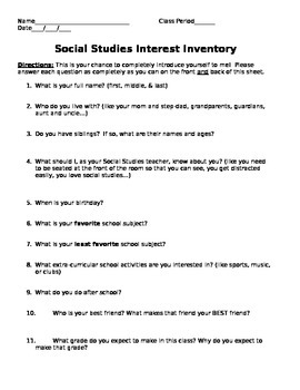 Social Studies Interest Inventory
