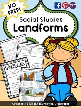 Social Studies Landforms Reading and Centers {No Prep}
