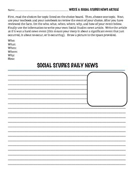 Social Studies News Article