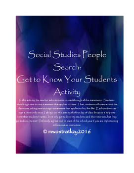 Social Studies People Search - Get to Know You Activity (D