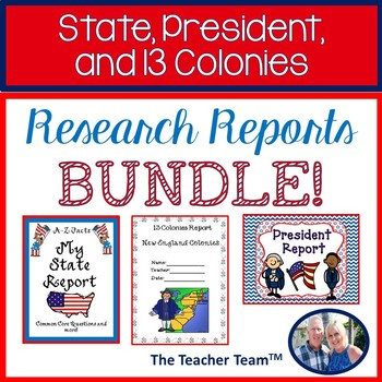 State, President, 13 Colonies  Report Bundle for 5th grade