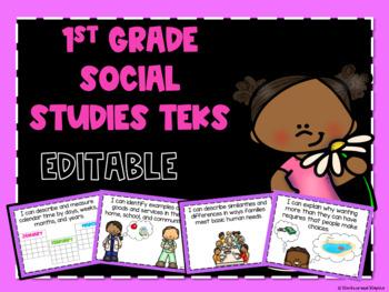 Social Studies TEKS Posters for First Grade