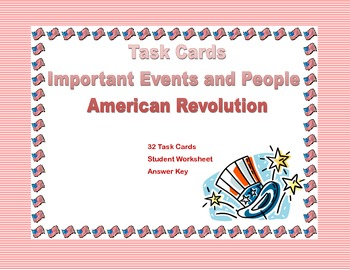 Social Studies Task Cards-American Revolution Events and People