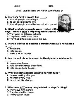 Social Studies Test Dr. Martin Luther King Jr.