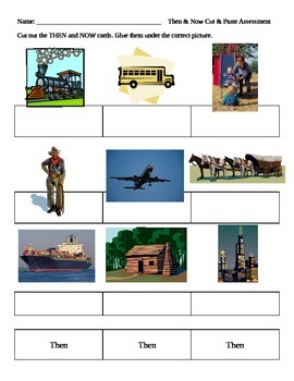 Social Studies Then and Now Cut and Paste - Past and Present.