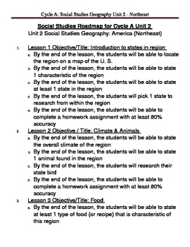 Social Studies U. S. Geography - Northeast Region Unit Plan