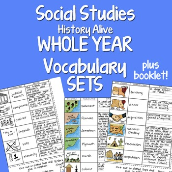 Social Studies WHOLE YEAR 20 Interactive Notebook Vocabula