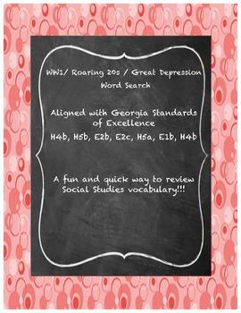 Social Studies WW1/ Roaring 20s/ Great Depression Word Search