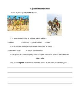 Social Studies World History Conquistadors Explorer Assess