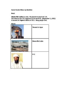 Social Studies modified worksheet Current Events 9-11