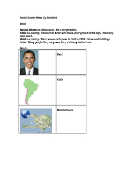 Social Studies modified worksheet President current events
