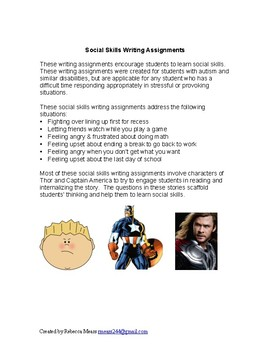 Social Thinking Writing Assignments