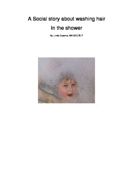 Social story about kids washing their hair in the shower