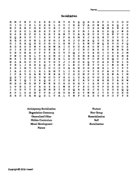 Socialization Vocabulary Word Search for Sociology