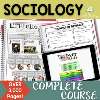 Sociology Interactive Notebook Complete Curriculum Growing Bundle