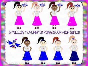 Sock Hop Girls Clip art Freebie!