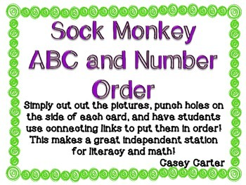 Sock Monkey ABC and Number Order