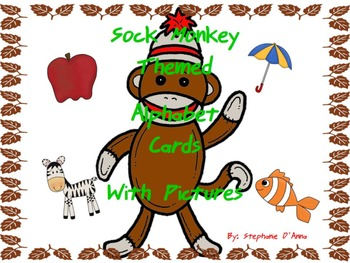 Sock Monkey Alphabet Cards with pictures