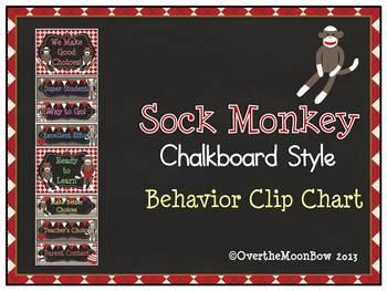 Sock Monkey ~ Chalkboard Style Behavior Clip Chart
