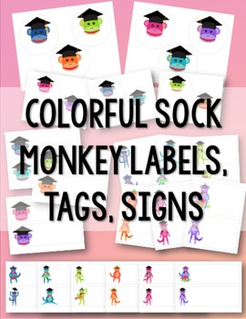 Sock Monkey Labels, Signs & Tags