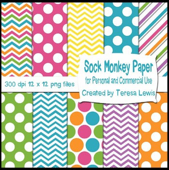Sock Monkey Paper Pack