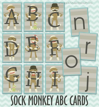 Sock Monkey Printable Alphabet Cards