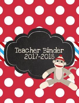 Sock Monkey Printable Teacher Binder for 2015-2016 Bright