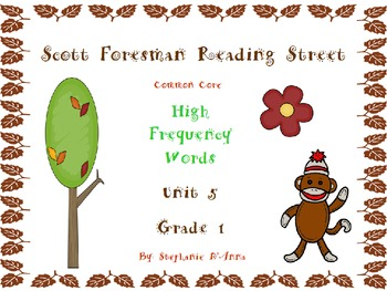 Sock Monkey Reading Street High Frequency Words Unit 5 Gr. 1