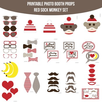 Sock Monkey Red Printable Photo Booth Prop Set