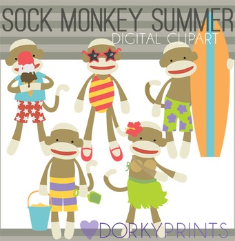 Sock Monkey Summer Digital Clip Art