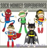 Sock Monkey Super Hero Digital Clip Art