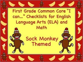 Sock Monkey Themed First Grade Common Core Checklist (ELA)