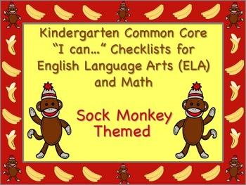 Sock Monkey Themed Kindergarten Common Core Checklist (ELA