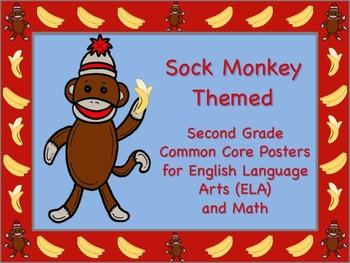 Sock Monkey Themed Second Grade Common Core Posters (ELA)