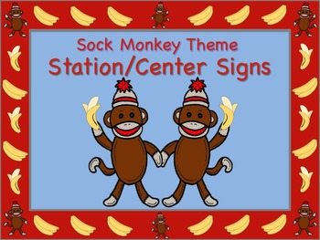 Sock Monkey Themed Station/Center Signs - Great for Classr