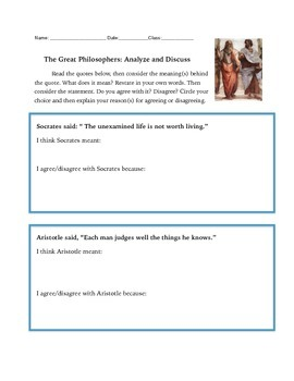 Socrates, Aristotle and Plato: Discuss Quotes by these Gre