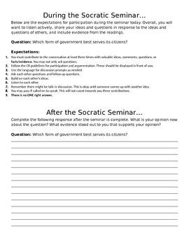 Socratic Seminar Government