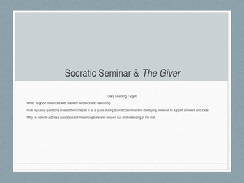 Socratic Seminar for The Giver, Chapter 9